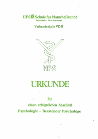 Urkunde Psychologie